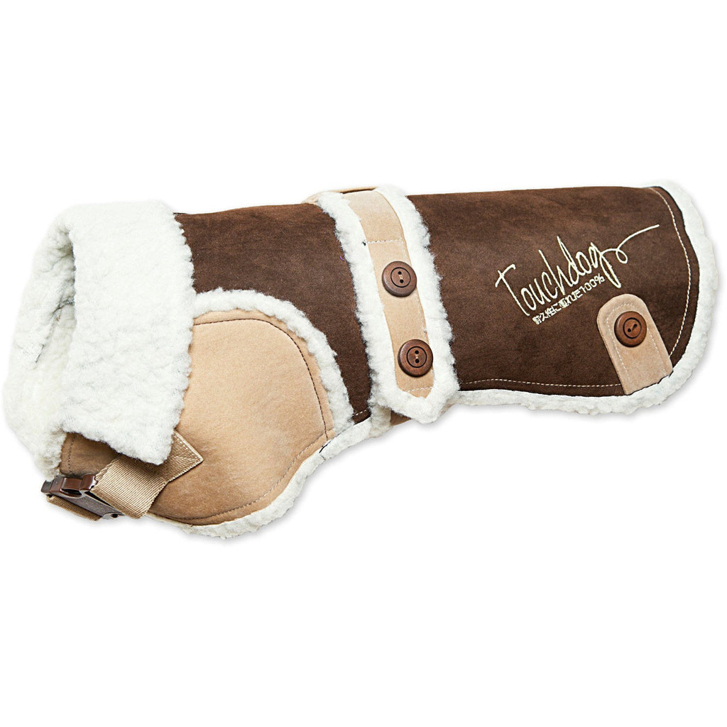 Touchdog ® Original Sherpa-Bark Designer Fashion-Forward Dog Coat X-Small Dark Choco Brown, Light Sand Brown
