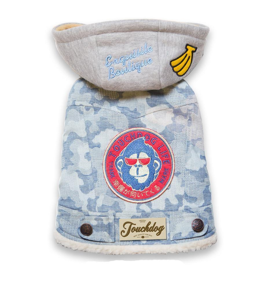 Touchdog ® Outlaw Designer Embellished Retro-Denim Hooded Dog Sweater Coat X-Small Blue