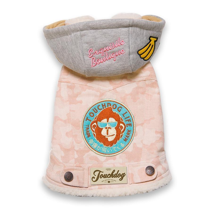 Touchdog ® Outlaw Designer Embellished Retro-Denim Hooded Dog Sweater Coat X-Small Pink