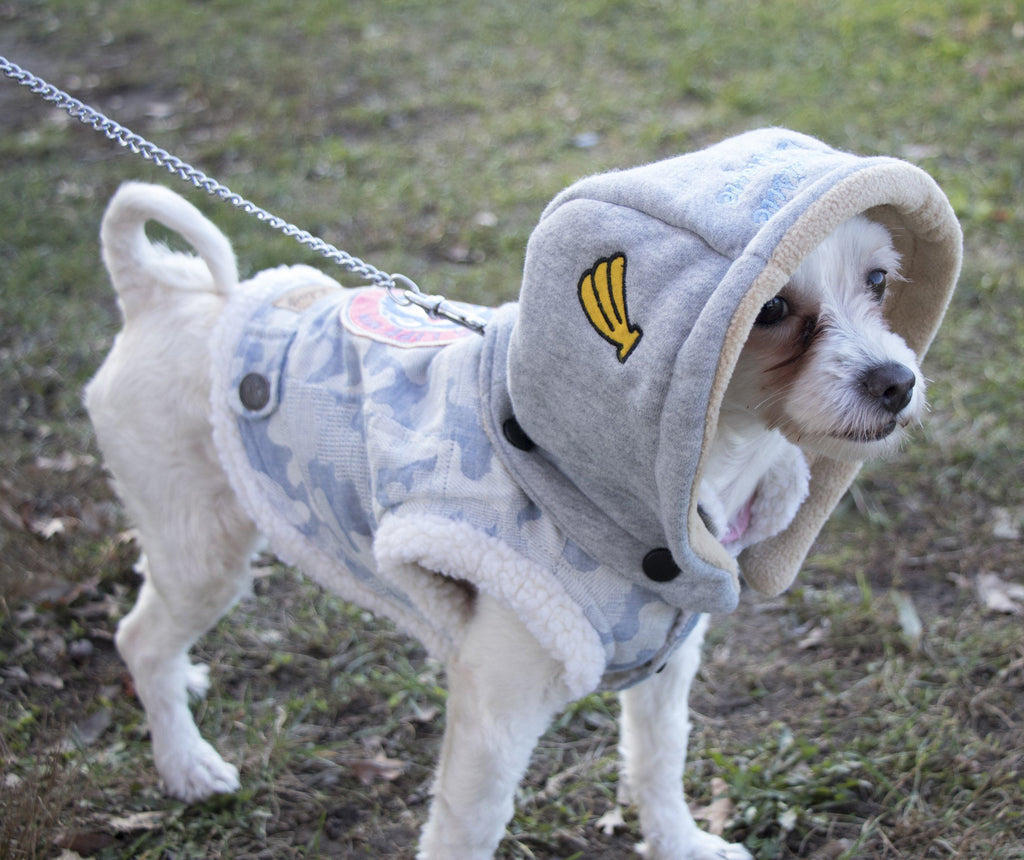 Touchdog ® Outlaw Designer Embellished Retro-Denim Hooded Dog Sweater Coat