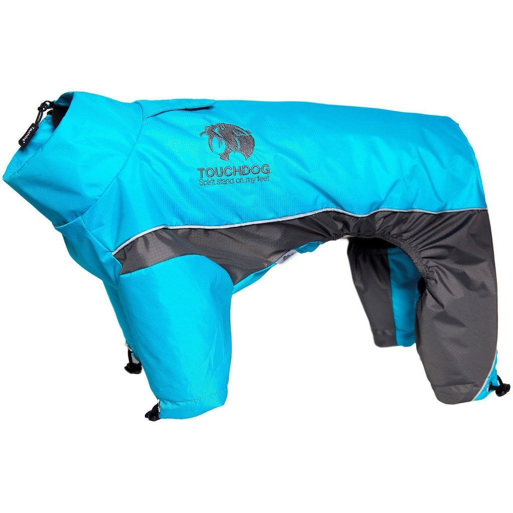 Touchdog ® Quantum-Ice Full-Bodied Adjustable and 3M Reflective Dog Jacket w/ Blackshark Technology X-Small Ocean Blue, Grey