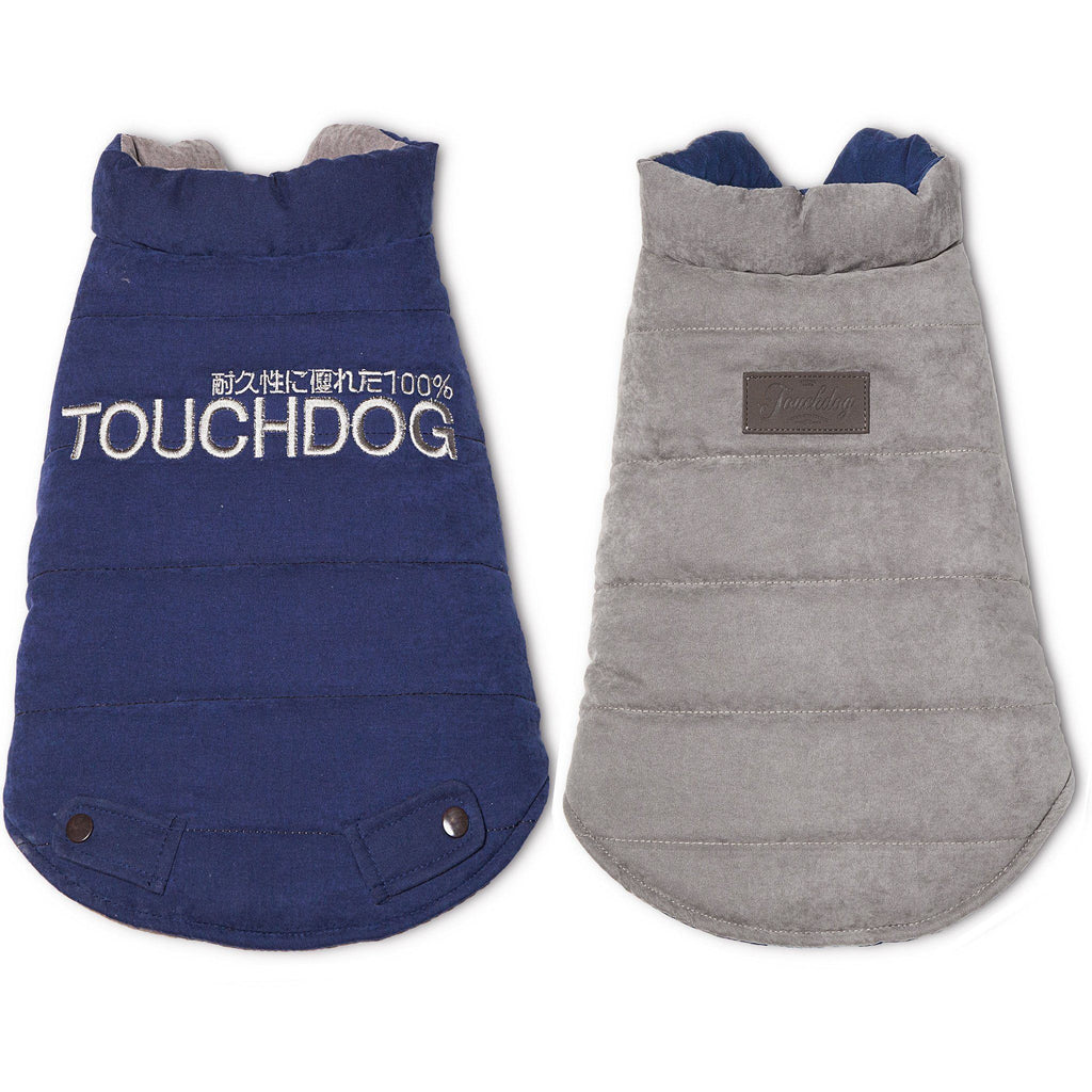 Touchdog ® Waggin Swag Ultra-Plush Reversible and Insulated Dog Coat X-Small Blue / Grey
