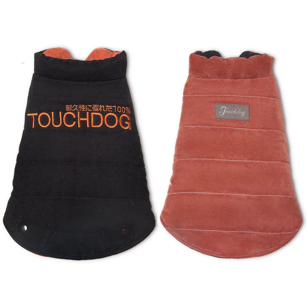Touchdog ® Waggin Swag Ultra-Plush Reversible and Insulated Dog Coat X-Small Brown / Orange