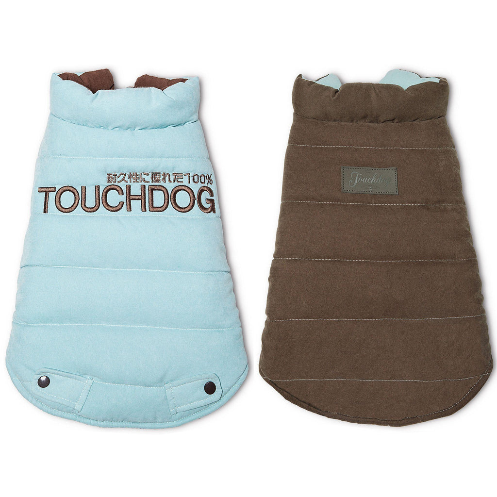 Touchdog ® Waggin Swag Ultra-Plush Reversible and Insulated Dog Coat X-Small Blue / Brown