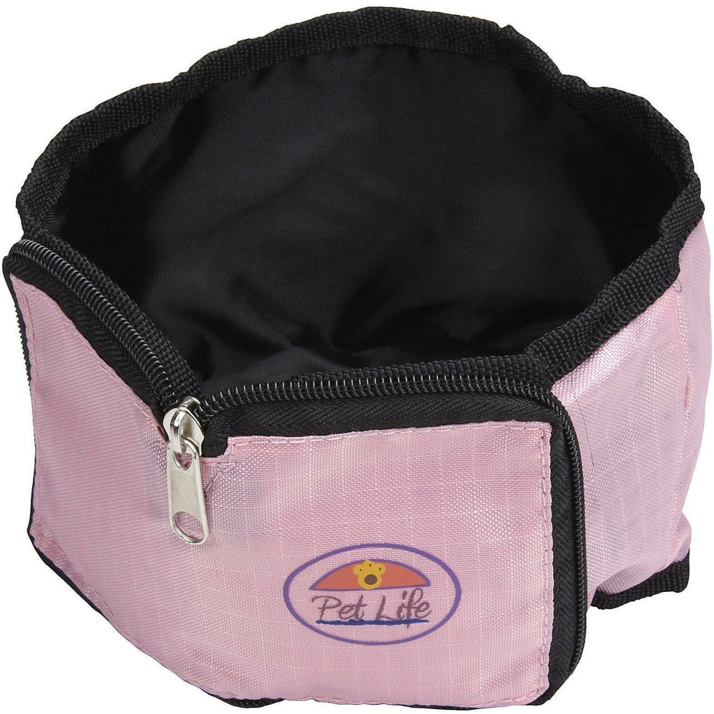 Pet Life ® Wallet Folding Waterproof Zippered Collapsible Folding Travel Pet Dog Cat Bowl Feeder Waterer Pink