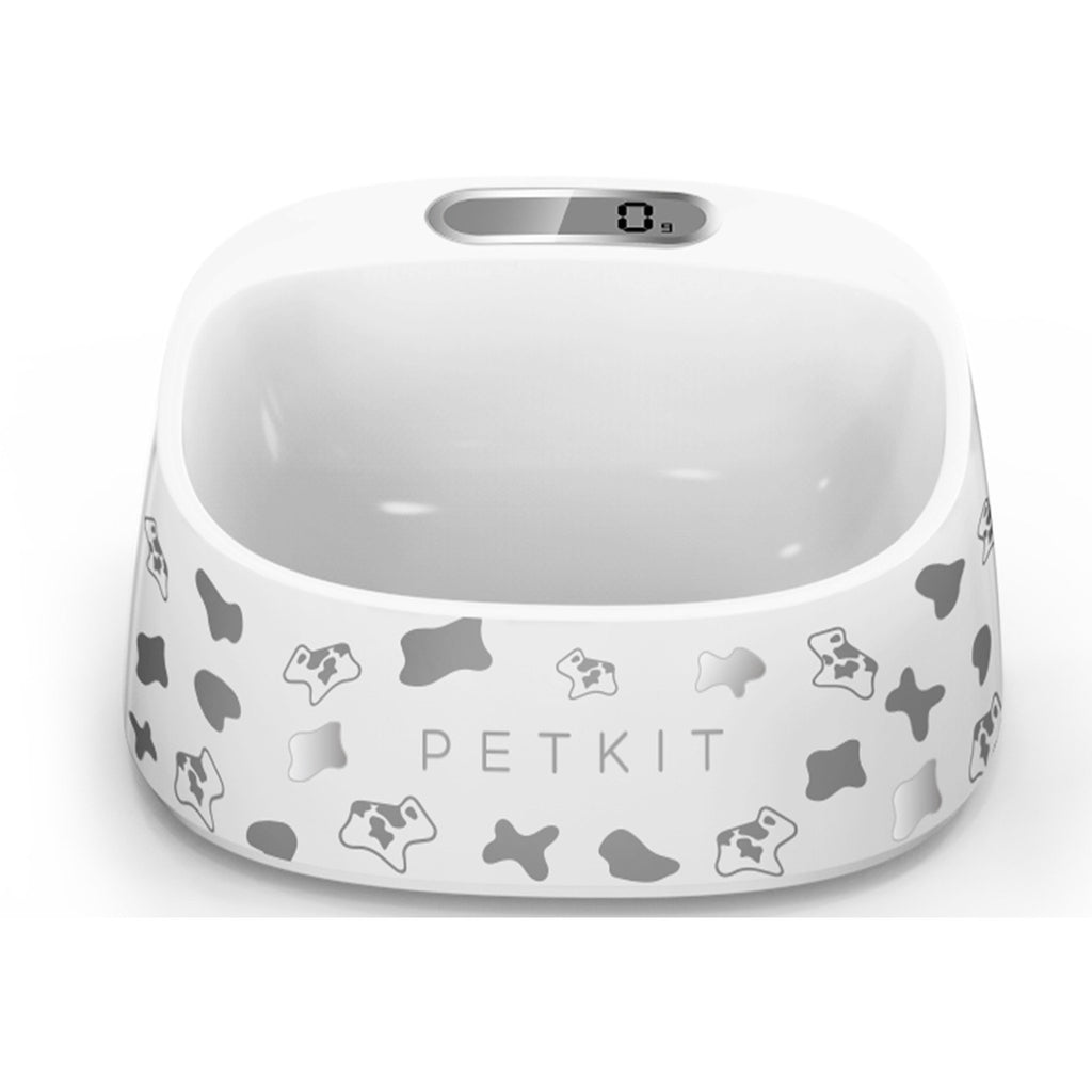 PETKIT ® 'FRESH' Anti-Bacterial Waterproof Smart Food Weight Calculating Digital Scale Pet Cat Dog Bowl Feeder w/ Inlcuded Batteries Black / White Pattern