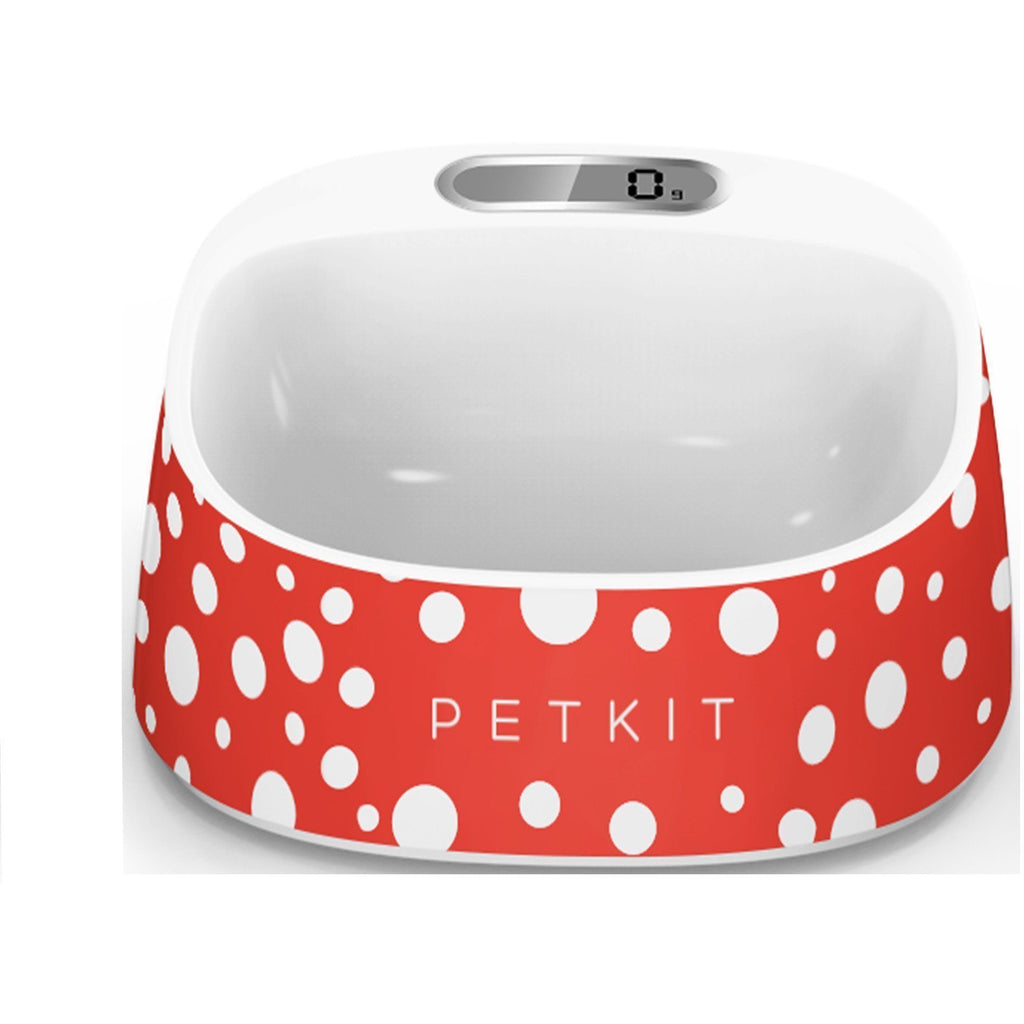 PETKIT ® 'FRESH' Anti-Bacterial Waterproof Smart Food Weight Calculating Digital Scale Pet Cat Dog Bowl Feeder w/ Inlcuded Batteries Red / White