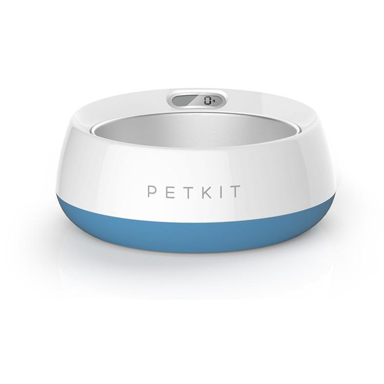 PETKIT ® 'FRESH METAL' Large Anti-Bacterial Machine Washable Smart Food Weight Calculating Digital Scale Pet Cat Dog Bowl Feeder w/ Inlcuded Batteries and Ejectable Stainless Bowl Blue