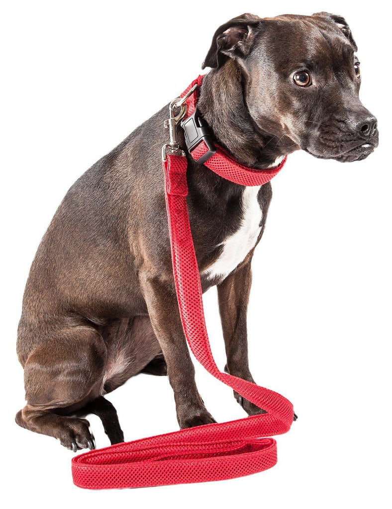 Pet Life ®  'Aero Mesh' 2-In-1 Dual Sided Comfortable And Breathable Adjustable Mesh Dog Leash-Collar Small Red