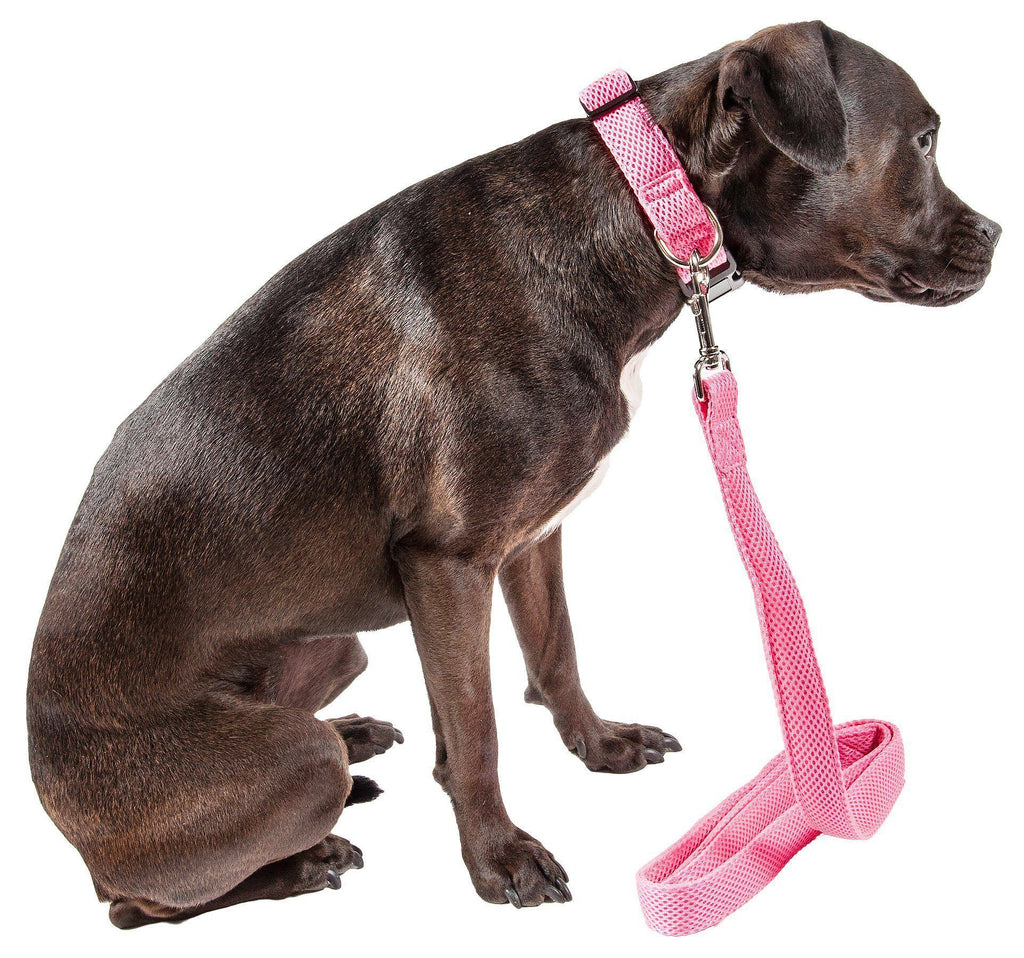 Pet Life ®  'Aero Mesh' 2-In-1 Dual Sided Comfortable And Breathable Adjustable Mesh Dog Leash-Collar Small Pink