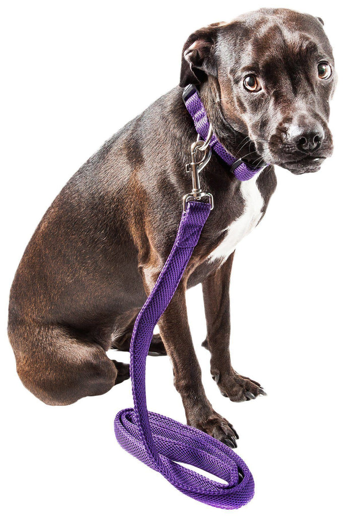 Pet Life ®  'Aero Mesh' 2-In-1 Dual Sided Comfortable And Breathable Adjustable Mesh Dog Leash-Collar Small Purple