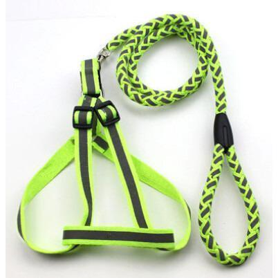 Pet Life ® 'Easy Tension' Reflective Stitched Adjustable 2-in-1 Pet Dog Leash and Harness Small Neon Green