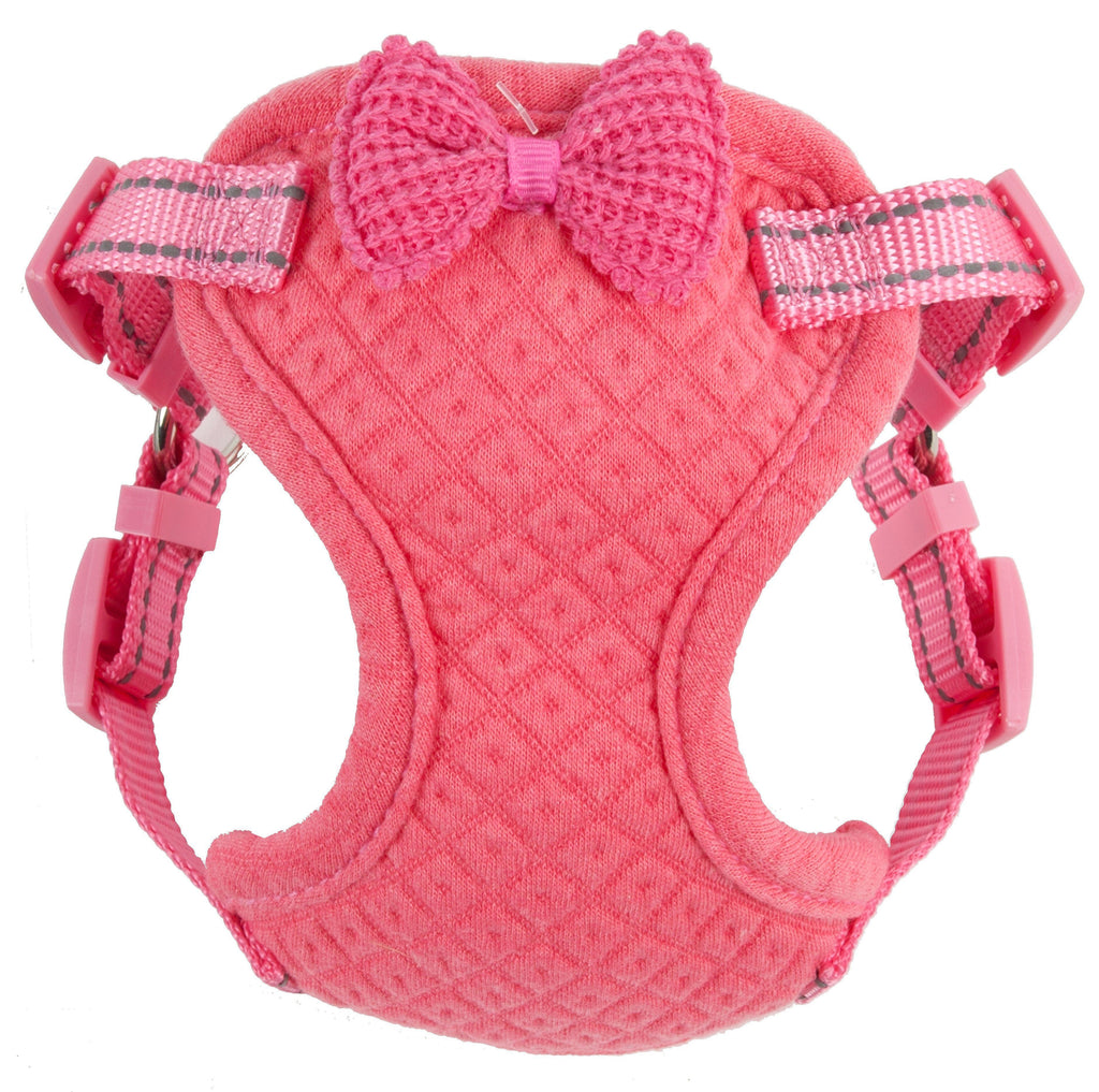 Pet Life ®  'Flam-Bowyant' Mesh Reversible And Breathable Adjustable Dog Harness W/ Designer Bowtie X-Small Pink