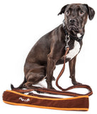 Pet Life ®  'Free-Fetcher' Hands Free Over-The-Shoulder Shock Absorbent Dog Leash Small Brown