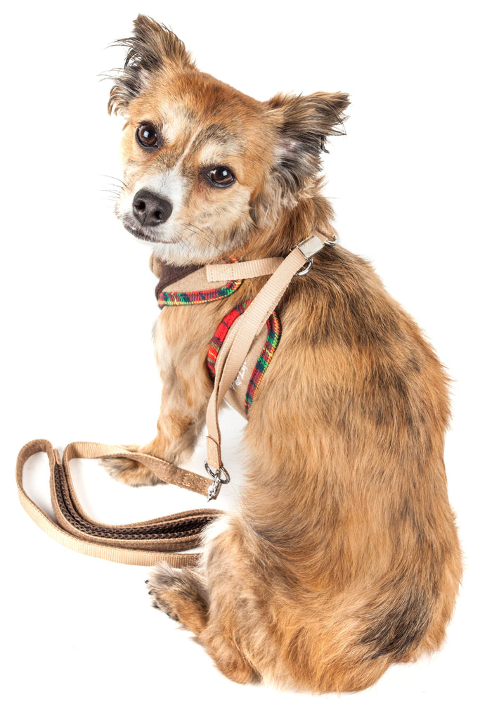 Pet Life ®  Luxe 'Dapperbone' 2-In-1 Mesh Reversed Adjustable Dog Harness-Leash W/ Fashion Bowtie
