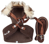 Pet Life ®  Luxe 'Furracious' 2-In-1 Mesh Reversed Adjustable Dog Harness-Leash W/ Removable Fur Collar