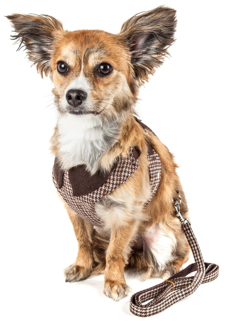 Pet Life ®  Luxe 'Houndsome' 2-In-1 Mesh Reversible Plaided Collared Adjustable Dog Harness-Leash X-Small