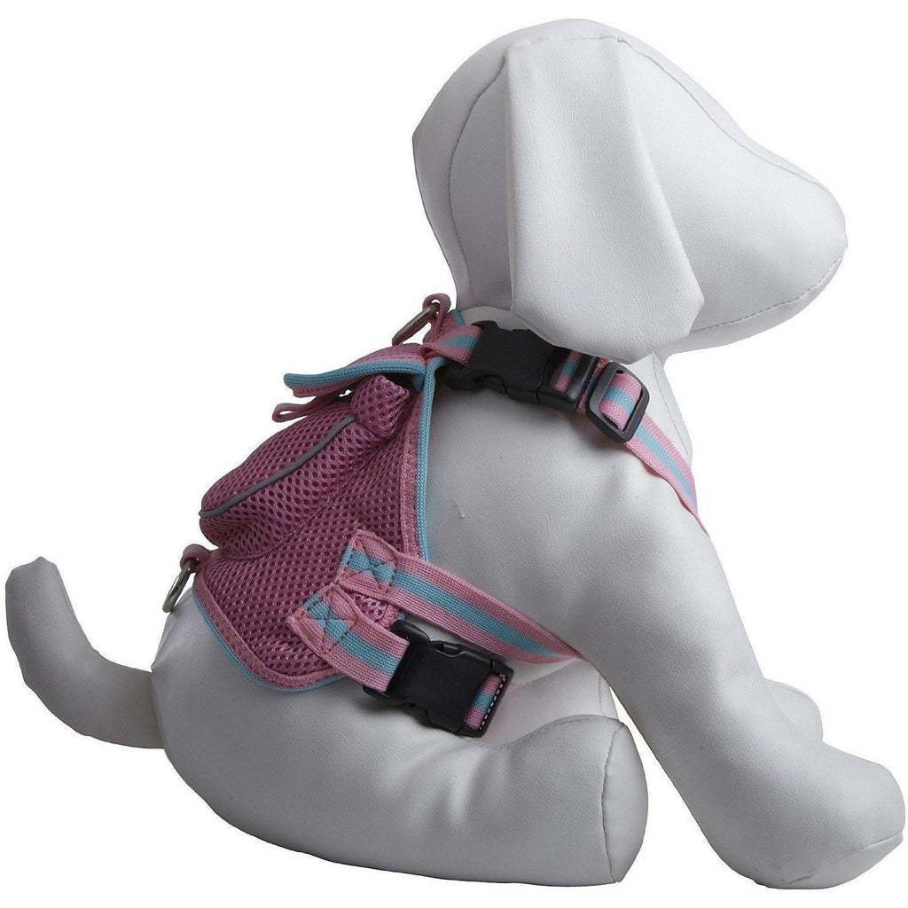 Pet Life ® 'Pocket Bark' Reflective Adjustable Fashion Pet Dog Harness w/ Velcro Pouch and Dual Harness Rings Small Pink