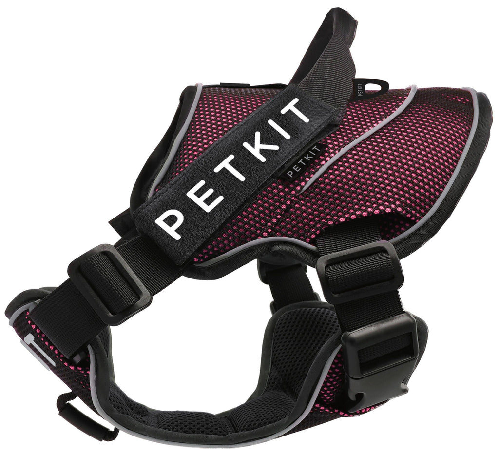 PETKIT ® 'AIR' Quad-Connecting Cushioned Chest Compression and Reflective Breathable Premium Safety Mesh Pet Dog Harness Small Pink/Black