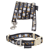 Touchdog ® 'Caliber' Designer Embroidered Fashion Pet Dog Leash and Collar Combination Small Black Pattern