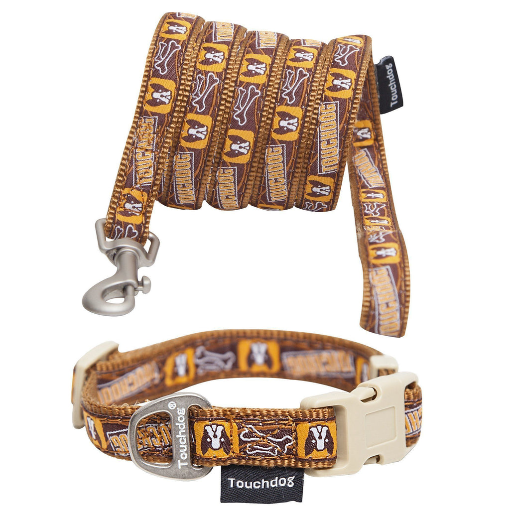 Touchdog ® 'Caliber' Designer Embroidered Fashion Pet Dog Leash and Collar Combination Small Brown Pattern
