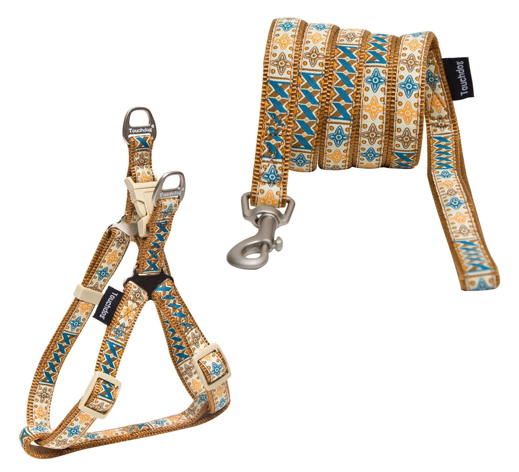 Touchdog ® 'Caliber' Embroidered Designer Fashion Pet Dog Leash and Harness Combination Small Brown Pattern