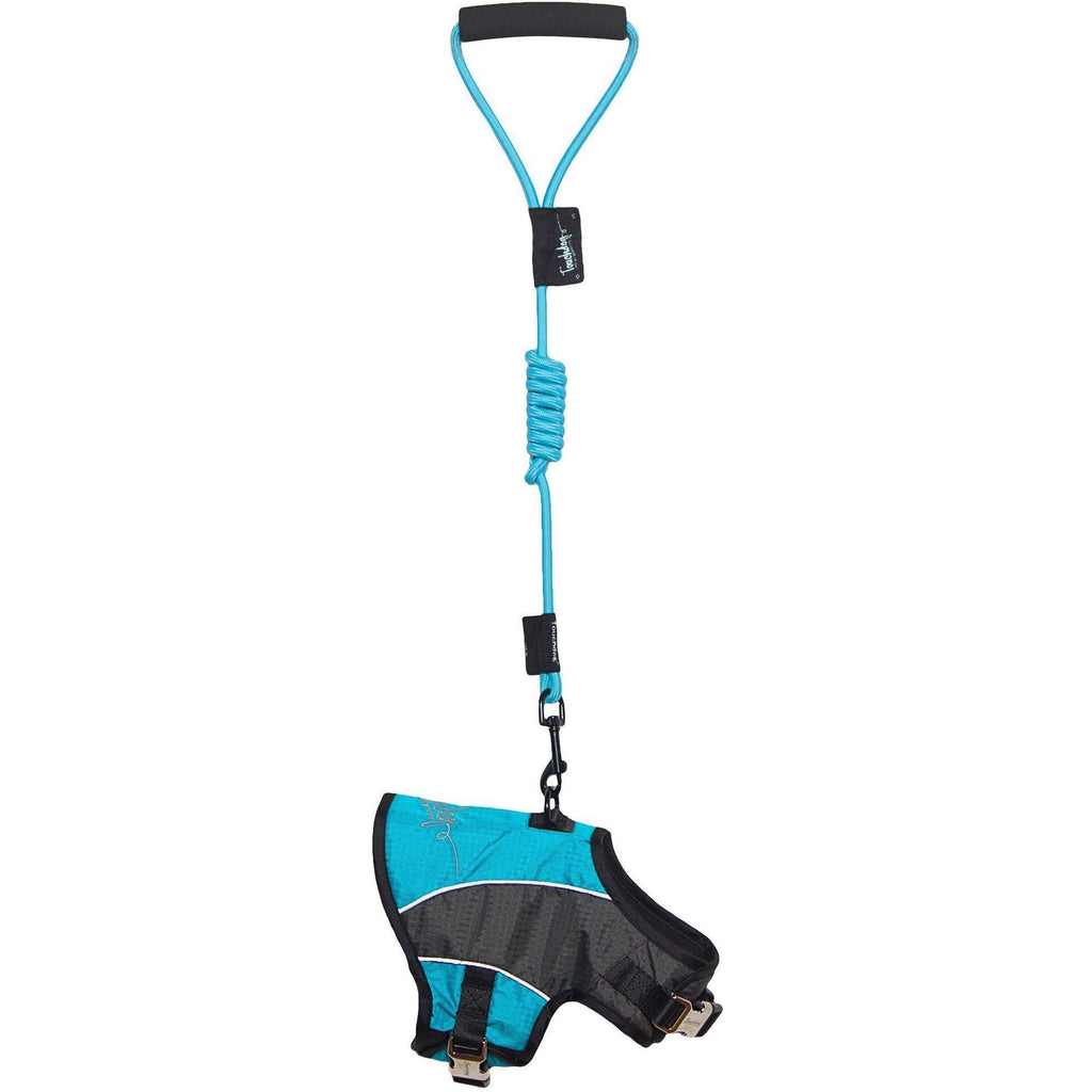 Touchdog ® 'Reflective-Max' 2-in-1 Premium Performance Adjustable Pet Dog Harness and Leash Combination X-Small Turquoise Blue, Charcoal Grey