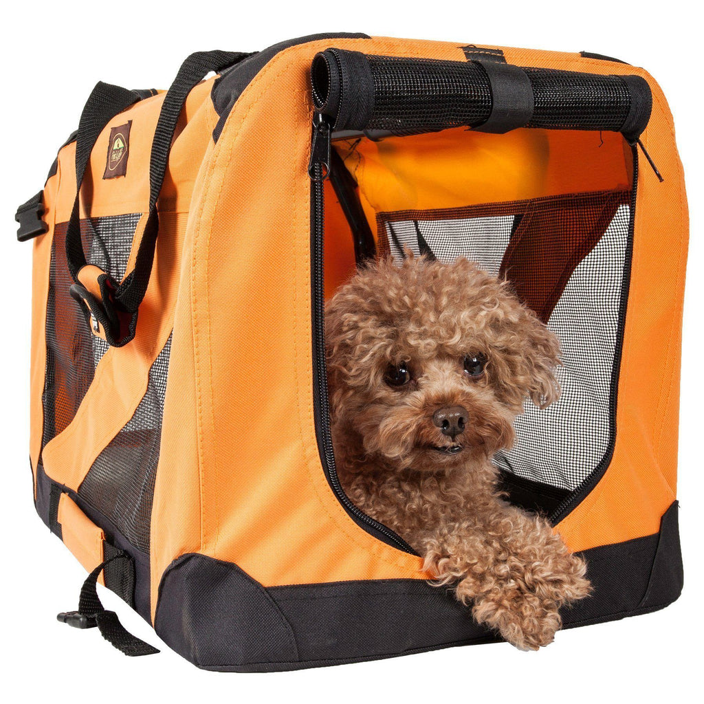 Pet Life ® '360° Vista View' Zippered Soft Folding Collapsible Durable Metal Framed Pet Dog Crate House Carrier