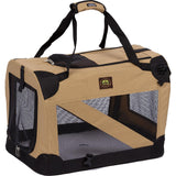 Pet Life ® '360° Vista View' Zippered Soft Folding Collapsible Durable Metal Framed Pet Dog Crate House Carrier X-Small Khaki