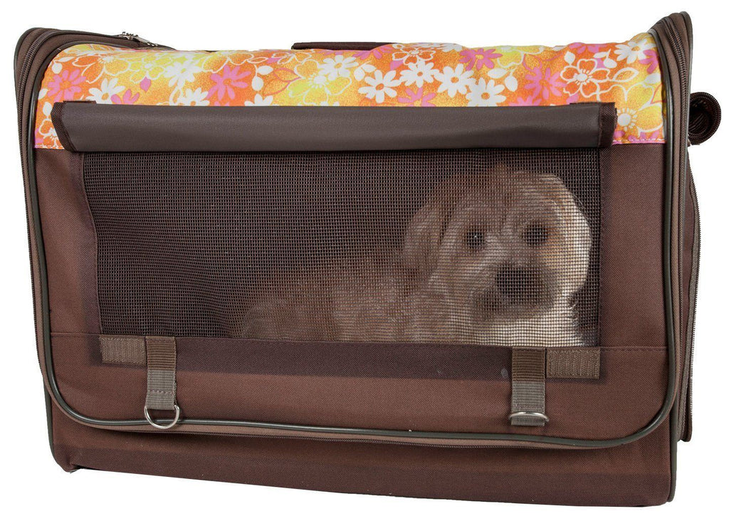 Pet Life ® 'Floral Patterned' Folding Collapsible Lightweight Wire Framed Pet Dog Crate House Tent