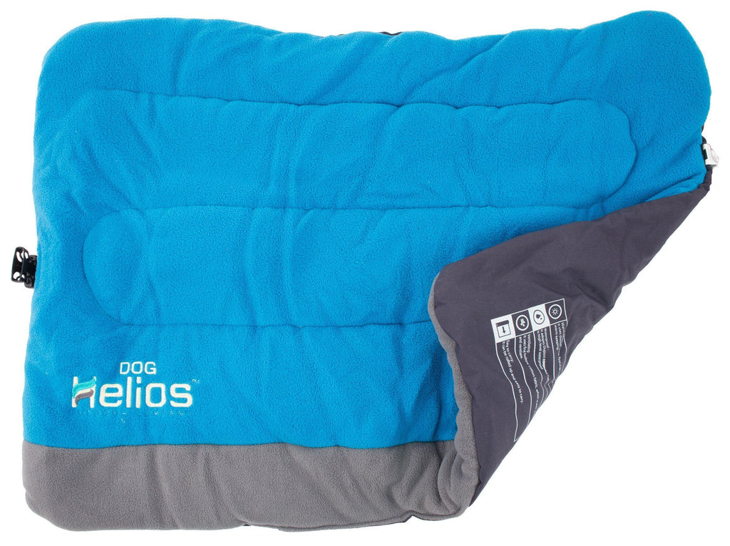Dog Helios ® 'Combat-Terrain' Cordura-Nyco Reversible Nylon and Polar Fleece Travel Camping Folding Pet Dog Bed Mat Medium Blue, Grey