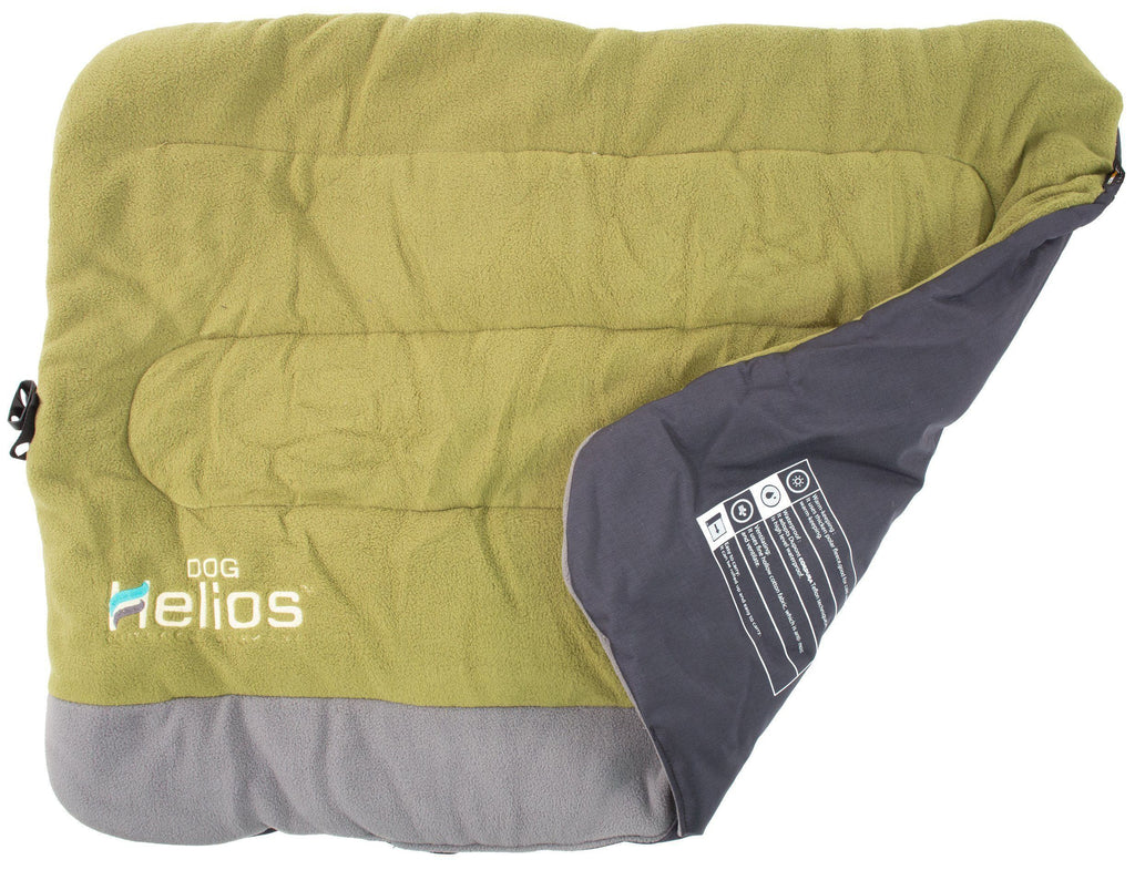 Dog Helios ® 'Combat-Terrain' Cordura-Nyco Reversible Nylon and Polar Fleece Travel Camping Folding Pet Dog Bed Mat Medium Olive Green, Grey