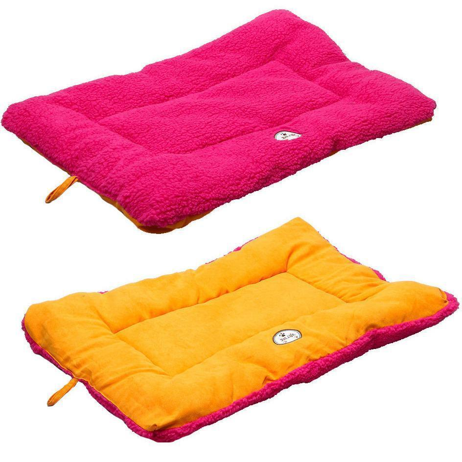 Pet Life ® 'Eco-Paw' Reversible Eco-Friendly Recyclabled Polyfill Fashion Designer Pet Dog Bed Mat Lounge Medium Pink And Orange