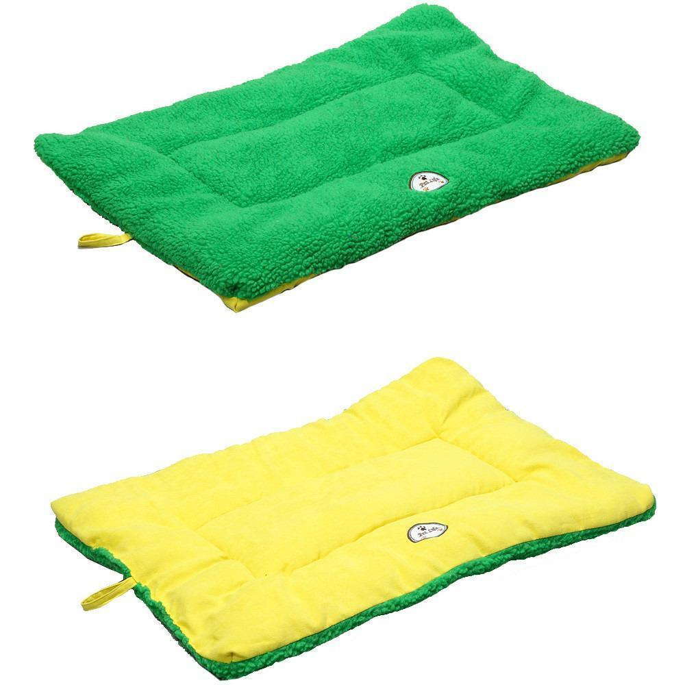 Pet Life ® 'Eco-Paw' Reversible Eco-Friendly Recyclabled Polyfill Fashion Designer Pet Dog Bed Mat Lounge Medium Green And Yellow