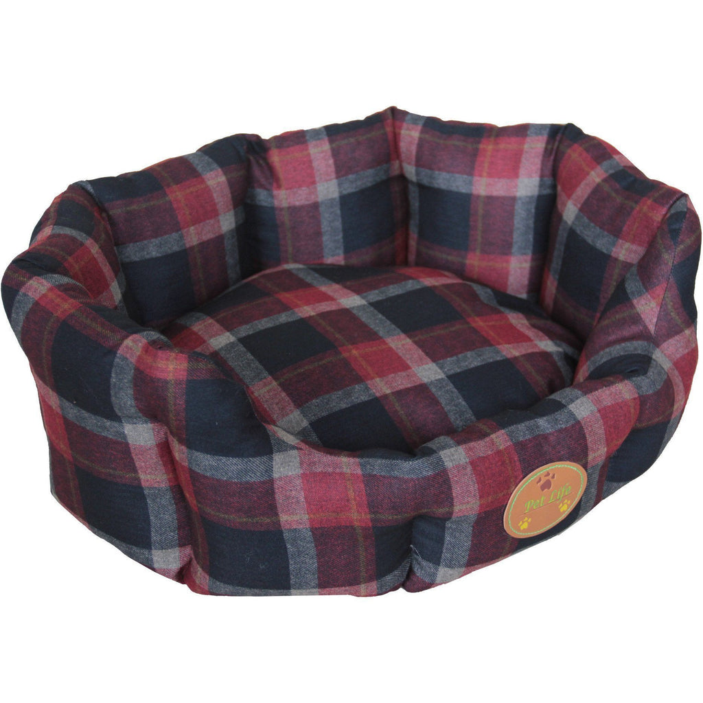 Pet Life ® 'Wick-Away' Wick-proof Nano-Silver and Anti-Bacterial Water Resistant Rounded Circular Pet Dog Bed Lounge X-Small Red, Blue Plaid