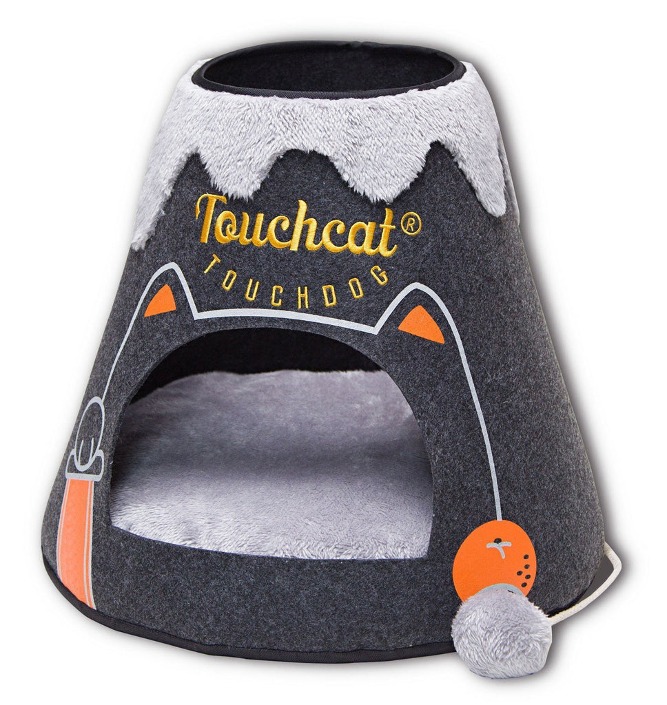 Touchcat ® 'Molten Lava' Triangular Frashion Designer Pet Kitty Cat Bed House Lounge Lounger w/ Hanging Teaser Toy Black/White