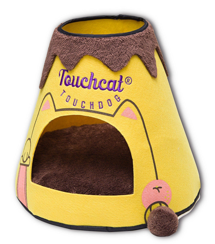 Touchcat ® 'Molten Lava' Triangular Frashion Designer Pet Kitty Cat Bed House Lounge Lounger w/ Hanging Teaser Toy Yellow/Brown