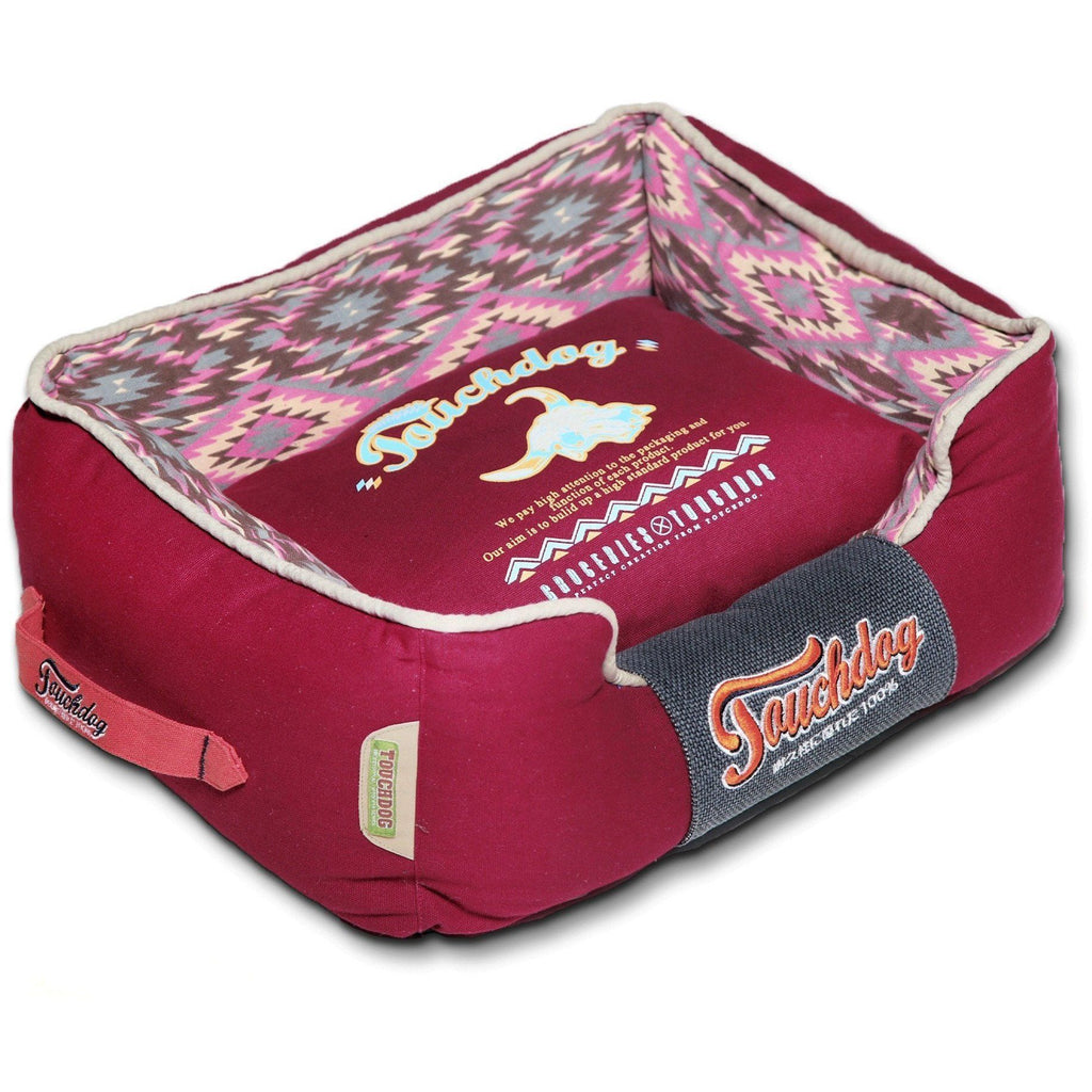 Touchdog ® '70's Vintage-Tribal' Diamond Patterned Ultra-Plush Rectangular-Boxed Pet Dog Bed Lounge Medium Sangria Pink