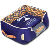 Touchdog ® '70's Vintage-Tribal' Diamond Patterned Ultra-Plush Rectangular-Boxed Pet Dog Bed Lounge Medium Midnight Blue, Sandalwood