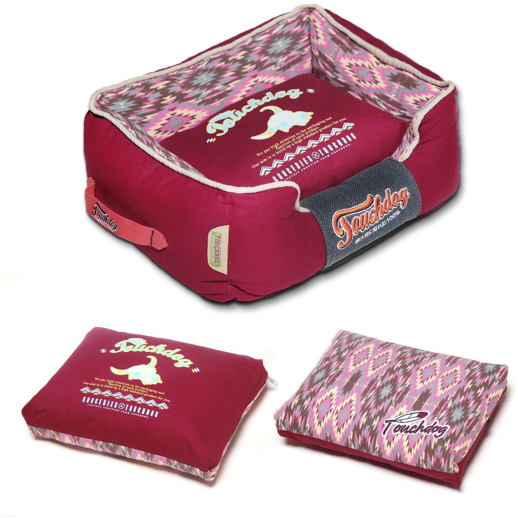 Touchdog ® '70's Vintage-Tribal' Diamond Patterned Ultra-Plush Rectangular-Boxed Pet Dog Bed Lounge