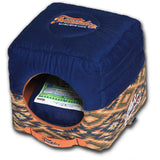 Touchdog ® '70's Vintage-Tribal' Throwback Convertible Squared 2-in-1 Collapsible Pet Dog Cat House Bed Lounge Midnight Blue, Sandalwood