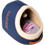 Touchdog ® 'Active-Play' Exquisite Panoramic Designer Vintage Emblem Pet Dog Cat Bed w/ Built-in Teaser Ocean Blue, Grey, Orange