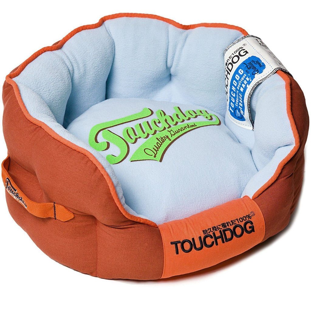 Touchdog ® 'Castle-Bark' Original Ultimate Rounded Retro-Faded Premium Designer Fashion Pet Dog Bed Medium Grenadine Red, Sky Blue