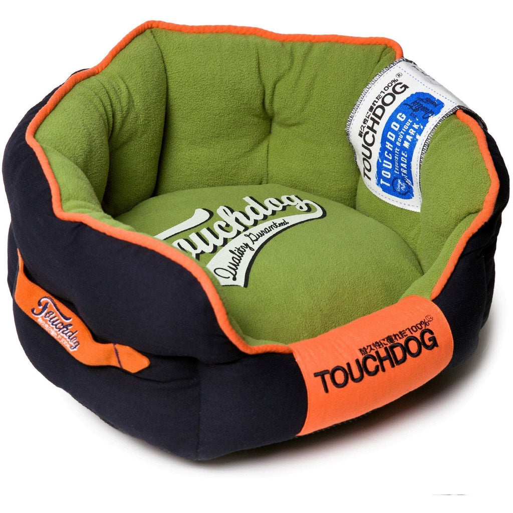 Touchdog ® 'Castle-Bark' Original Ultimate Rounded Retro-Faded Premium Designer Fashion Pet Dog Bed Medium Midnight Blue, Olive Green