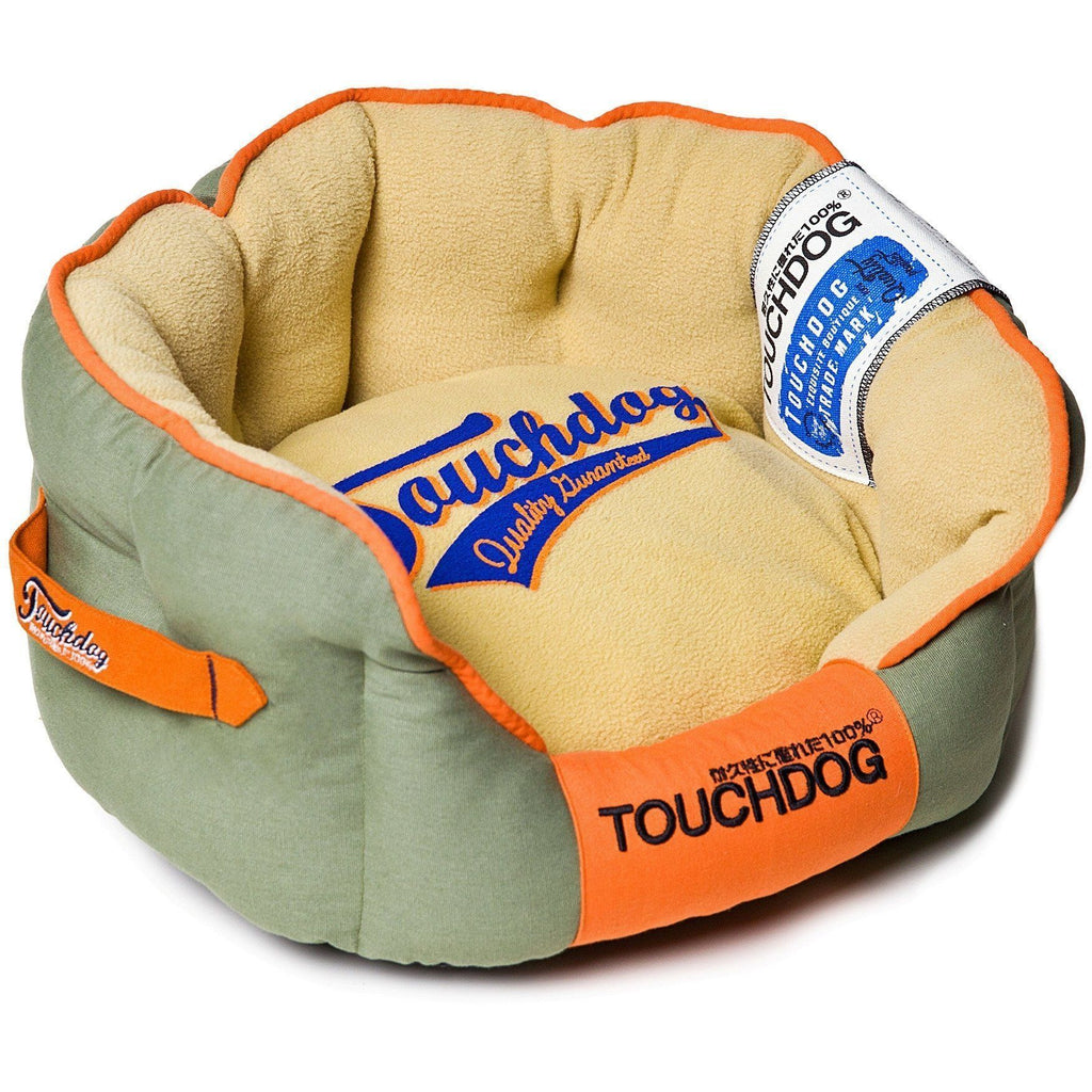 Touchdog ® 'Castle-Bark' Original Ultimate Rounded Retro-Faded Premium Designer Fashion Pet Dog Bed Medium Grey, Beige