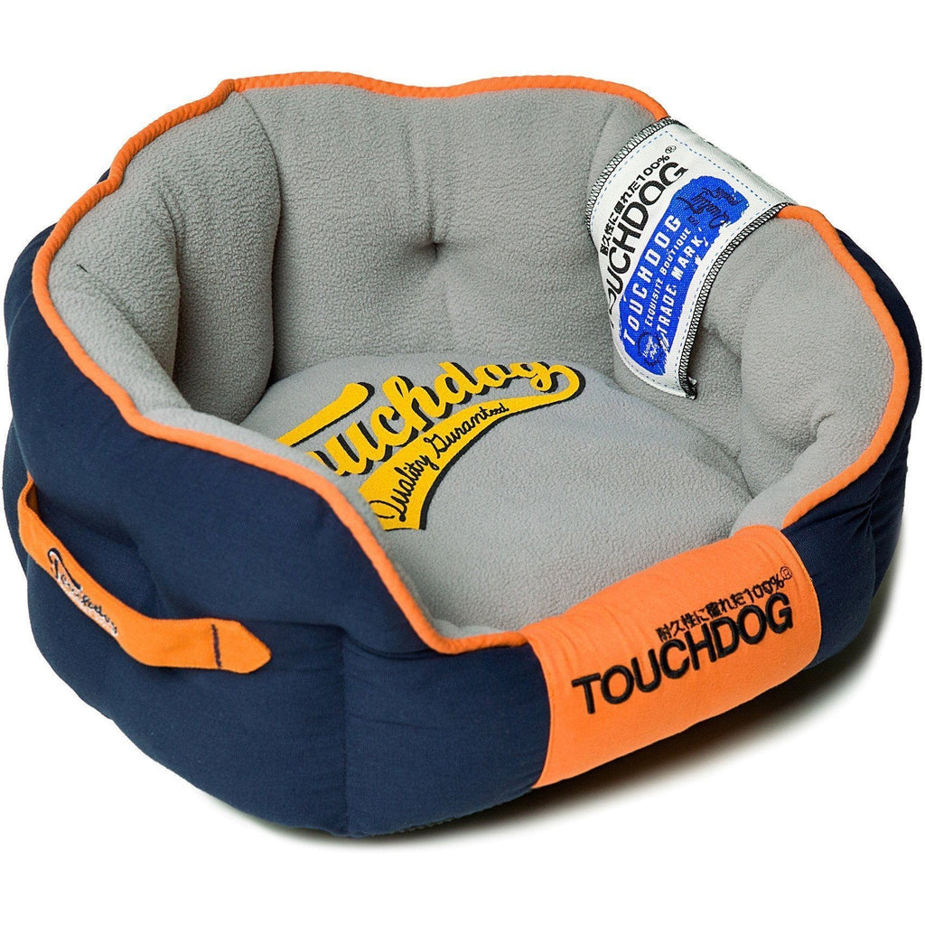 Touchdog ® 'Castle-Bark' Original Ultimate Rounded Retro-Faded Premium Designer Fashion Pet Dog Bed Medium Ocean Blue, Grey