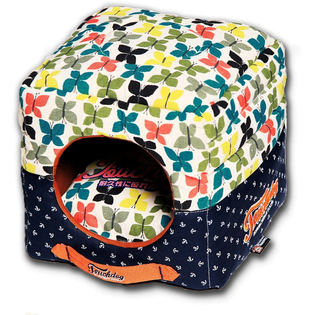 Touchdog ® 'Chirpin-Avery' Convertible Squared 2-in-1 Collapsible Pet Dog Cat Bed House Butterfly Pattern