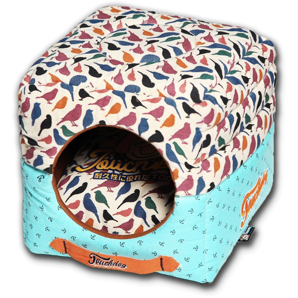 Touchdog ® 'Chirpin-Avery' Convertible Squared 2-in-1 Collapsible Pet Dog Cat Bed House Bird Pattern