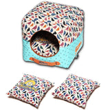 Touchdog ® 'Chirpin-Avery' Convertible Squared 2-in-1 Collapsible Pet Dog Cat Bed House