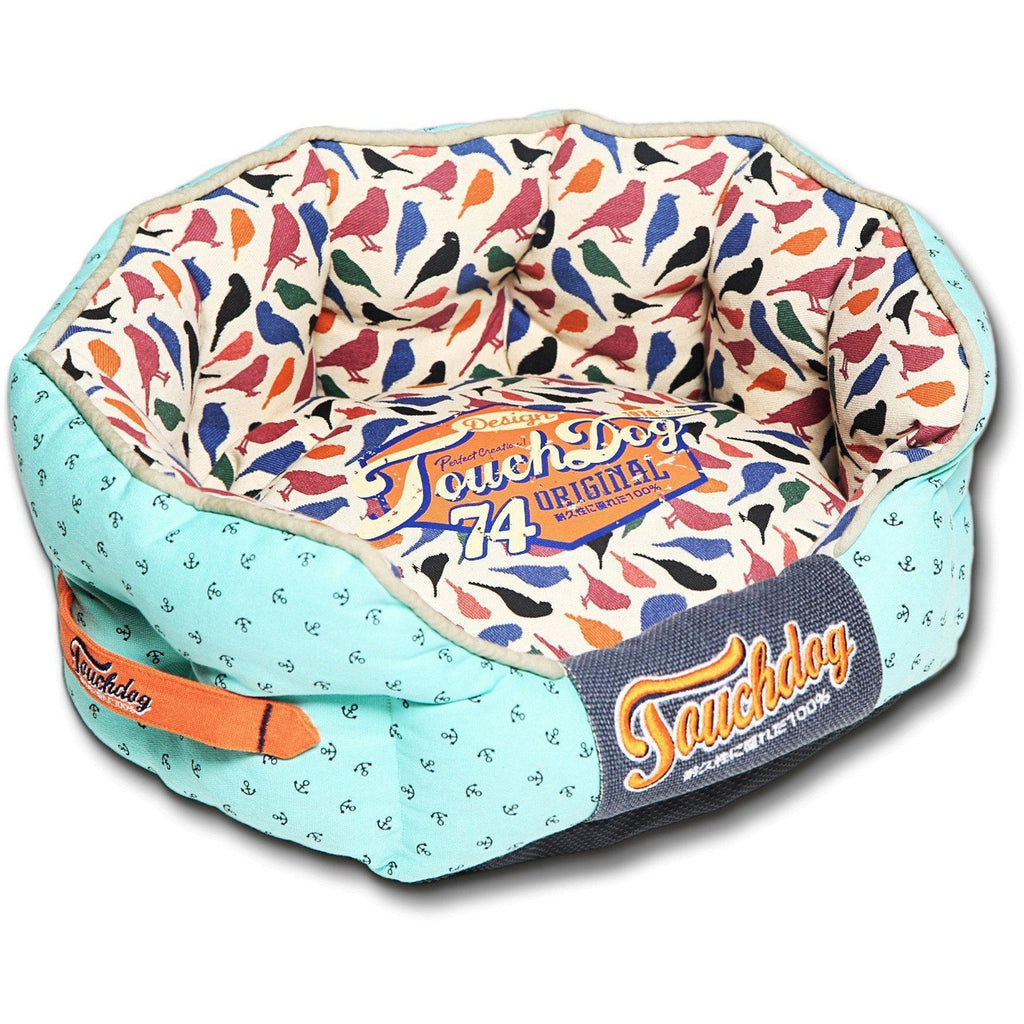 Touchdog ® 'Chirpin-Avery' Rounded Premium Fashion Designer Pet Dog Bed Medium Light Blue, Bird Pattern